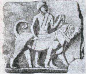 Фреска с изображением дрессированной собаки в древности