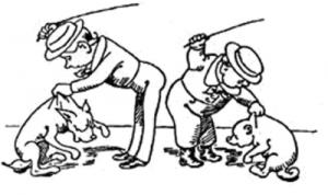 Хозяйка наказывает собаку.