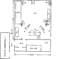 Схематичное изображение экспериментальной комнаты.