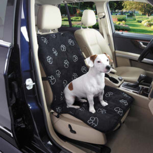 Собака сидит в автомобиле.